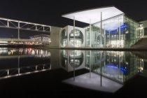 Germany, Berlin, Marie-Elisabeth-Lueders-Building at night — Stock Photo