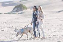 Zwei Freunde am Strand mit Hund in schöner Natur — Stockfoto