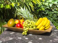 Дерев'яні пластини банани, ананаси, зелений виноград, манго і нектарин — стокове фото