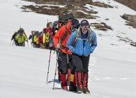 Nepal, Himalaya, Solo Khumbu, group of Gurkhas trekking — Stock Photo