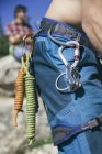 Ropes and carabiners in the harness of climber — Stock Photo