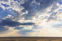 Namibia, Parco nazionale di Etosha e vista del sole circondato da nuvole — Foto stock