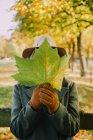 Frau versteckt ihr Gesicht hinter einem Herbstblatt — Stockfoto