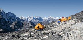 Nepal, Himalaya, Solo Khumbu, Ama Dablam, base camps during daytime — Stock Photo