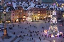 Polen, Warschau, Blick auf den Burgplatz mit Sigismundsäule und beleuchtetem Weihnachtsbaum bei Nacht — Stockfoto