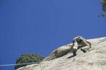 Homme grimpant dans un mur de granit, vue arrière — Photo de stock