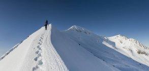 Великобритания, Шотландия, Бен-Невис, Carn Мор Dearg, женский альпинист на пике — стоковое фото