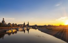 Germany, Saxony,  Dresden, historic old town and Elbe river at sunset — Stock Photo