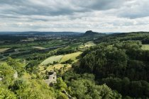 Germany, Baden-Wuerttemberg, Constance district, Hegau, View to Hohentwiel under clouds — Stock Photo