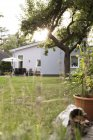Germany, Eggersdorf, bungalow and garden with green grass — Stock Photo