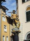 View to sculpture on a fountain at historic old town, Schaffhausen, Switzerland — Stock Photo