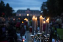Benrath Palace, festive decoration, candles on blurred background — Stock Photo