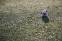 Futebol na linha em campo de futebol — Fotografia de Stock