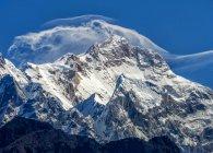 Nepal, Annapurna, Manasulu mountain with snow under clouds — Stock Photo