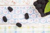 Fresh Blackberries on shabby patterned surface — Stock Photo