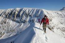 Сполучені Штати Америки, Шотландії, Бен-Невіс, карнавалу в р Mor Dearg, альпіністів на вищому рівні — стокове фото