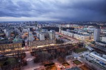 Poland, Warsaw, view to the city centre at evening twilight — Stock Photo