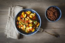 Ratatouille with red wholegrain rice — Stock Photo