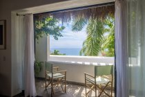 View to the sea from loggia of a residential home indoors — Stock Photo
