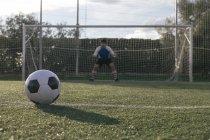 Fußball vor einem Tor mit Torwart — Stockfoto