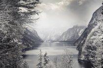 Германия, Бавария, Берхтесгаденер Земля, озеро Кёнигсси зимой — стоковое фото