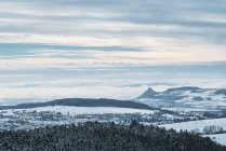 Germany, Baden-Wuerttemberg, Constance district, View to wintry Hegau landscape, town Engen left — Stock Photo