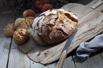 Coltello e crosta di pane — Foto stock