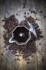 Top view of Espresso can and coffee beans — Stock Photo