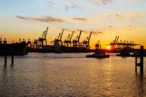 Германия, Гамбург, гавань, краны у реки Эльба на закате — стоковое фото