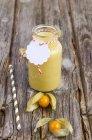 Стекло фруктового коктейля со свежим физалисом и соломой на дереве — стоковое фото