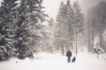 Germany, Bavaria, Berchtesgadener Land, father and son with sledge in winter landscape — Stock Photo