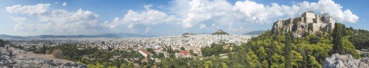 Panorama de Grecia, Atenas, con el Partenón - foto de stock