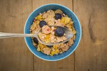 Glutenfree muesli with blueberries in spoon and bowl — Stock Photo