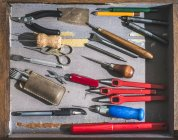 Set di utensili per la lavorazione in pelle — Foto stock
