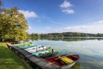 Германия, Бавария, озеро Wesslinger летом, причал и гребные лодки — стоковое фото