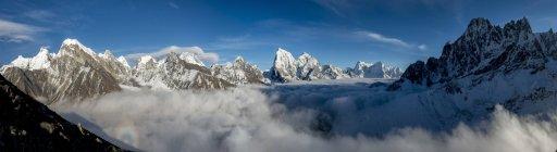 Gamma di Everest da regione di Gokyo ri peak, Panorama, Everest, Khumbu, Nepal — Foto stock