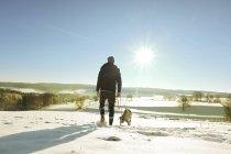 Alemanha, Bergisches terra, meu cachorro ambulante na paisagem de inverno — Fotografia de Stock