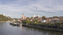 Germany, Bavaria, Panoramic view with historic city center at River Danube — Stock Photo