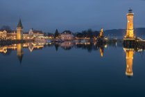 Scenic view of harbor entrance in Lindau, Lake Constance, Germany — Stock Photo
