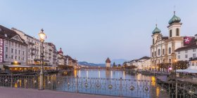 Switzerland, Canton of Lucerne, Lucerne, old town, View to Chapel bridge, Jesuit church right — Stock Photo