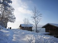 Germany, Kochel am See, hikers on snow-covered trail — Stock Photo