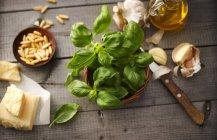 Close up de ingredientes para pesto sobre a mesa — Fotografia de Stock