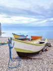 Rowing boats moored at the coast, Yport, Normandy, France — Stock Photo