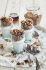 Fatti in casa senza glutine dado muesli, yogurt greco e sciroppo d'acero — Foto stock