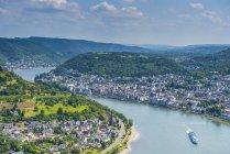 Germany, Rhineland-Palatinate, overlook over Boppard and the Rhine — Stock Photo