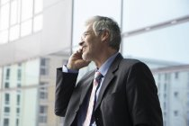 Businessman standing at window using mobile phone — Stock Photo