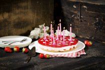 Strawberry cream cake — Stock Photo