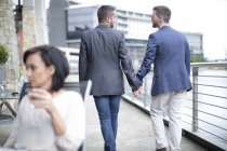 Gay couple walking together hand in hand — Stock Photo
