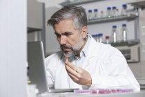 Della holding di campione da analizzare al computer portatile nel laboratorio dello scienziato — Foto stock