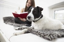 Young woman sitting on bed with dog writing diary — Stock Photo